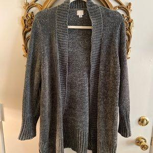 Green/Grey Chenille Cozy Long Sweater Cardigan